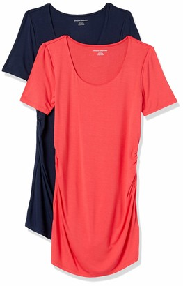 Amazon Essentials Women's Maternity 2-Pack Short-Sleeve Rouched Scoopneck T-Shirt