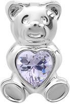 Ice Purple Cubic Zirconia Sterling Silver Teddy Bear Pendant