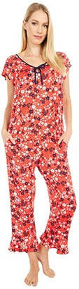 Kate Spade Modal Spandex Jersey Cropped Pajama Set (Wild Garden) Women's Pajama Sets