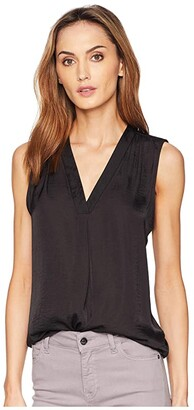 Vince Camuto Sleeveless V-Neck Rumple Blouse (Rich Black) Women's Blouse