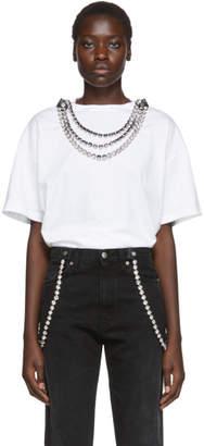 Christopher Kane White Detachable Crystal T-Shirt