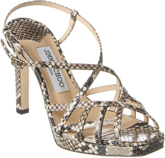 Jimmy Choo Lilah 100 Snake-Print Leather Sandal