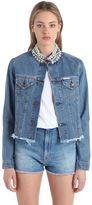 Forte Couture Embellished Frayed Cotton Denim Jacket