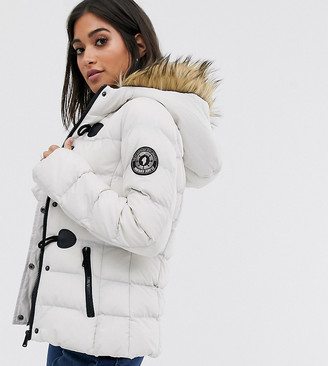 Brave Soul Petite wizard padded coat with faux fur hood