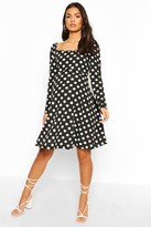 boohoo Maternity Rouched Sleeve Polka Dot Skater Dress