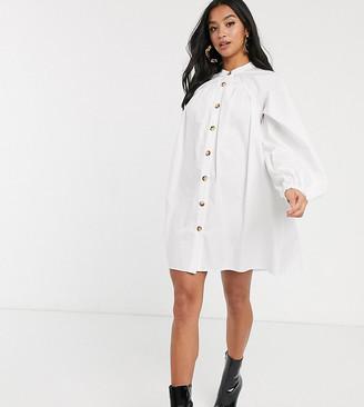 Asos DESIGN Petite mini cotton trapeze dress with button through in white