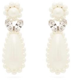 Simone Rocha Flower Faux-pearl And Crystal Drop Earrings - Womens - Pearl