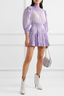 LoveShackFancy Viola Crochet-trimmed Embroidered Tie-dyed Cotton-voile Mini Dress - Lavender