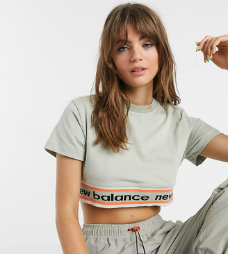 New Balance Utility Pack cropped t-shirt in beige exclusive at ASOS