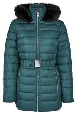 Dorothy Perkins Womens Green Jacquard Short Padded Coat