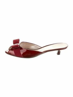 Salvatore Ferragamo Vara Bow Accent Patent Leather Slides Red