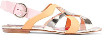 Emilio Pucci Pvc, Smooth And Mirrored-leather Slingback Sandals
