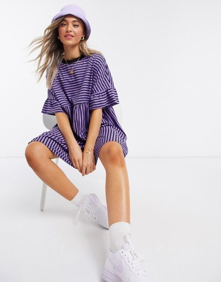 ASOS DESIGN super oversized frill sleeve smock in lilac and black stripe