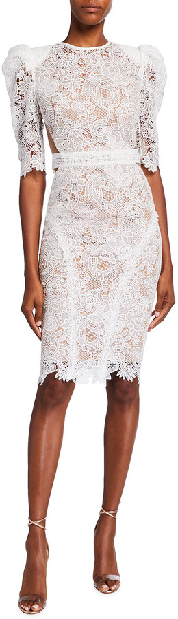 Bronx and Banco Madeline Guipure Lace Puff-Sleeve Dress
