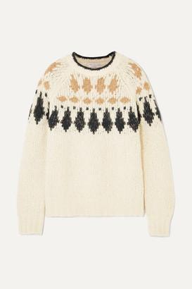Brunello Cucinelli Bead-embellished Intarsia Alpaca-blend Sweater - Beige