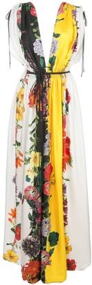 Oscar de la Renta Floral Stripe long dress