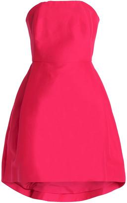 Halston Strapless Cotton And Silk-blend Mini Dress