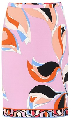 Emilio Pucci Printed crepe pencil skirt