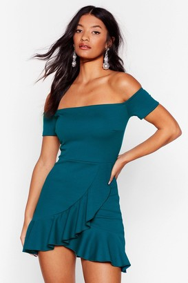 Nasty Gal Womens Show Me Off-the-Shoulder Mini Dress - Green - 4, Green