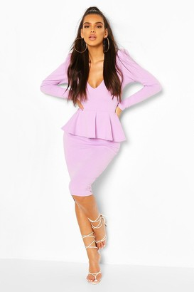 boohoo Structured Peplum Midi Dress