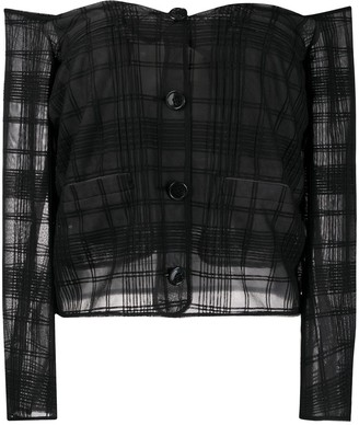 Marco De Vincenzo Off-Shoulder Sheer Check Blouse