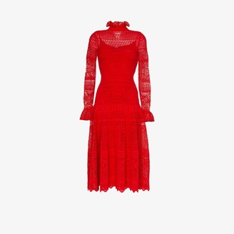 Alexander McQueen Womens Red High Neck Pointelle Lace Midi Dress
