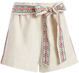 Alice + Olivia Linn Embroidered Paperbag Short