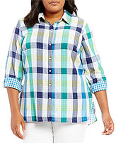 Allison Daley Plus Long Roll-Tab Sleeve Buffalo Plaid Button-Front Blouse