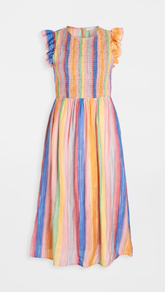 ENGLISH FACTORY Smocked Striped Maxi Dress