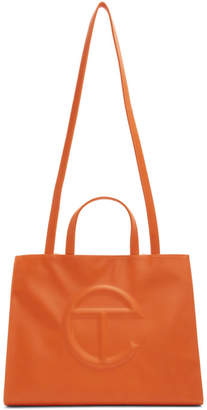 Telfar SSENSE Exclusive Orange Medium Shopper Tote