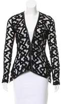 Yigal Azrouel Leather-Trimmed Lace Cardigan