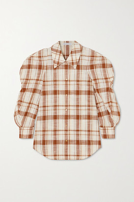 REJINA PYO Julia Oversized Checked Cotton And Linen-blend Shirt