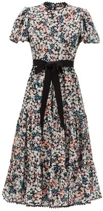 Erdem Ginerva Meadow Park-print Belted Silk Midi Dress - Black Print