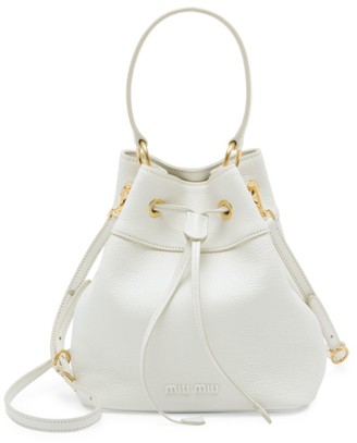 Miu Miu Madras Leather Bucket Bag