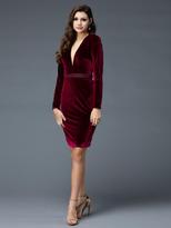 Colors Dress - 1779 Long Sleeve Velvet Sheath Dress