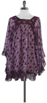 Anna Sui Purple Heart Print Ruffly Dress