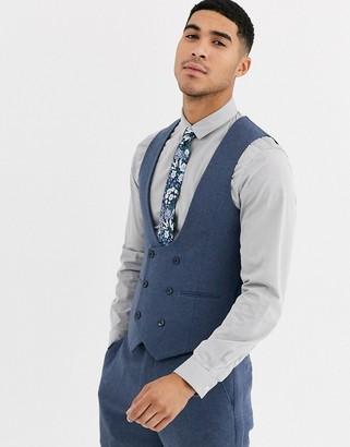 Gianni Feraud Winter Wedding Slim Fit Tweed Wool Blend Suit Waistcoat-Blue
