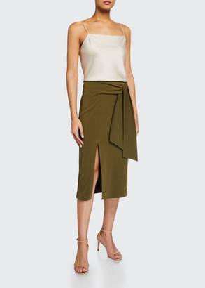 Alice + Olivia Riva Slit Midi Skirt w/ Tie