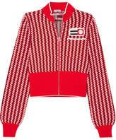 Miu Miu Cropped Appliquéd Checked Knitted Cardigan - Red