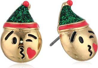 Betsey Johnson GBG) Women's Elf Emoji Stud Earrings