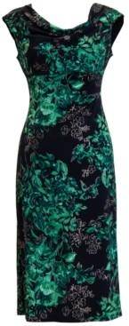 Connected Petite Floral Cowlneck Midi Dress