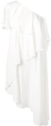 Lanvin One Shoulder Ruffle Dress