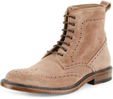 Aquatalia Forrest Perforated Suede Chukka Boot, Dark Taupe