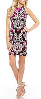 B. Darlin Foiled Scroll Pattern Velvet Sheath Dress