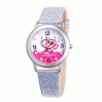 Red Balloon Paris L 'Amour Girls'Stainless Steel Glitz Watch, Silver Glitter Leather Strap