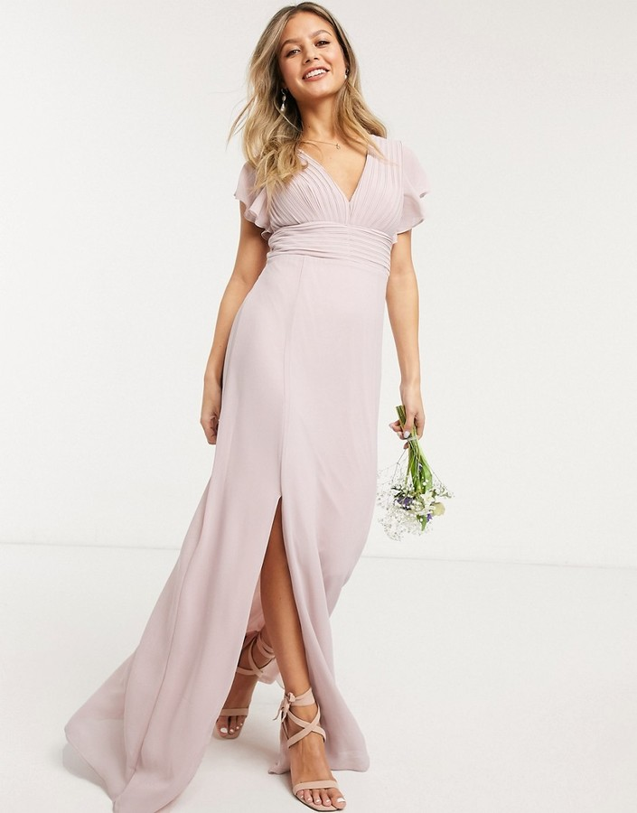 TFNC bridesmaid plunge front flutter sleeve maxi dress in pink