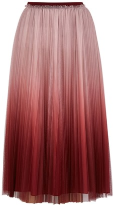 RED Valentino Pink degrade pleated tulle midi skirt
