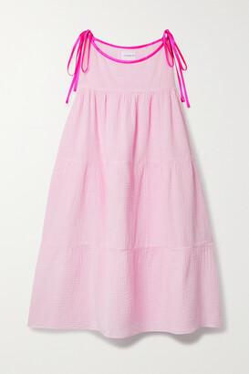 HONORINE Ines Silk Satin-trimmed Tiered Cotton-seersucker Dress - Pink