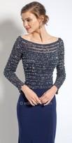 Camille La Vie Linear Beaded Long Sleeve Evening Dress