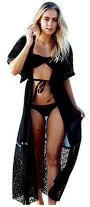 Live It Style It Womens Chiffon Kimono Cardigan Shirt Top Beach Cape Bikini Cover Up Lace Kimono (L